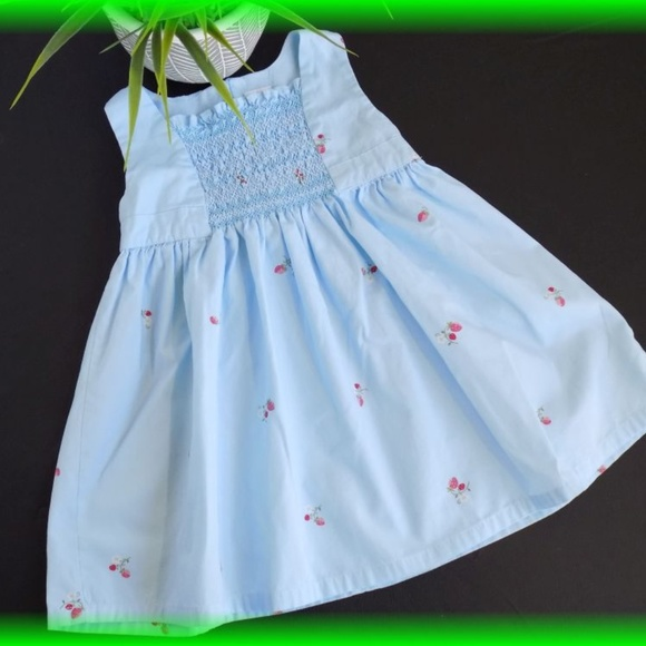 7e48ecc83772d Gymboree Dresses | Strawberry Patch Smocked Blue Dress | Poshmark